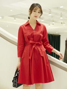 红雨鸶女装红雨鸶女装新款红色收腰连衣裙