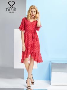 2019迪丝爱尔红色优雅连衣裙