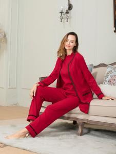 奥丽侬新款红色秋冬家居服