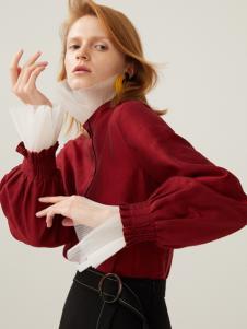 2019佧茜文酒红色气质衬衫