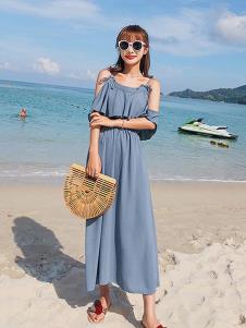 朵维思女装蓝色吊带连衣裙