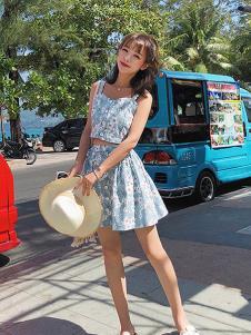 朵维思女装蓝色小雏菊套装裙