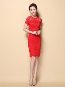 茗婉依格女装红色蕾丝连衣裙