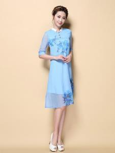 茗婉依格女装蓝色印花连衣裙
