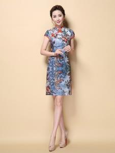 茗婉依格女装蓝色印花旗袍