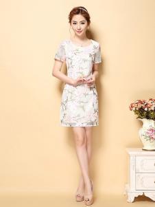 茗婉依格女装白色印花修身连衣裙
