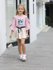2019芭樂兔童裝女童粉色上衣