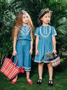 RBIGX瑞比克新款女童蓝色连衣裙