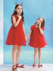 巴柯拉童裝新款紅色連衣裙