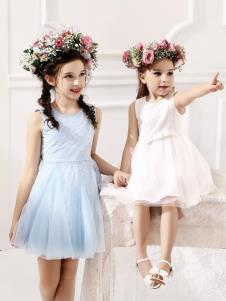巴柯拉童裝新款藍色連衣裙