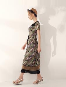 万泽丰女装复古民族风连衣裙