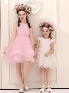 巴柯拉童装春夏新款粉色连衣裙