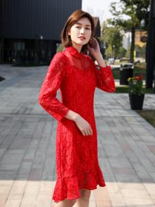 XYING香影新款红色连衣裙