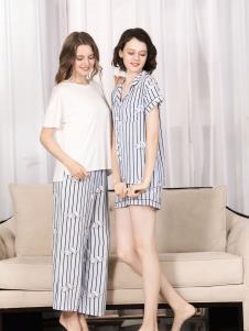 欧林雅品牌新款条纹睡裙
