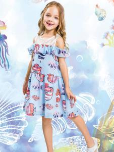 水孩儿女童露肩连衣裙