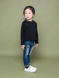 TIKKOROOM童装黑色休闲T恤