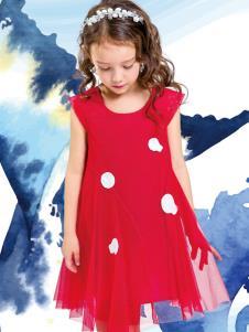 水孩儿女童红色连衣裙夏新款