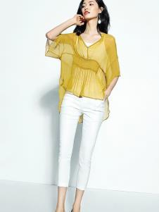 尚古主义女装黄色雪纺透明T恤