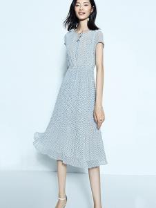 尚古主义女装蓝色圆点连衣裙
