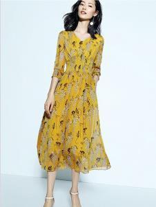 尚古主义女装黄色印花长袖连衣裙