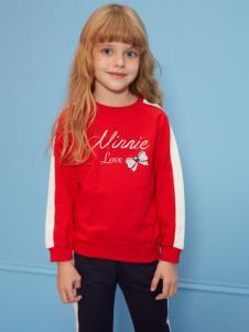 迪士尼宝宝童装女童红色卫衣
