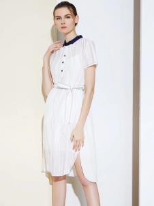S&D女装春夏新款白色连衣裙
