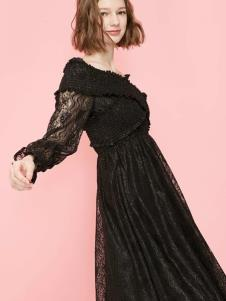 2019贝珞茵女装黑色蕾丝裙