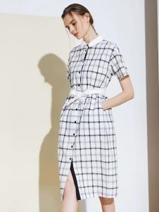 S&D女装2019新款格子连衣裙