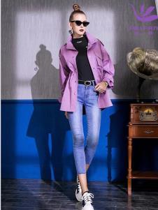 飞范女装19紫色短款风衣