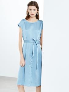 2019ECA女装蓝色绑带连衣裙