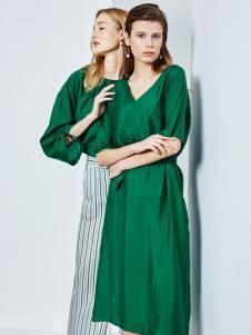 2019ECA女装时尚绿色连衣裙