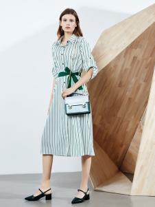 2019ECA女裝條紋襯衫裙
