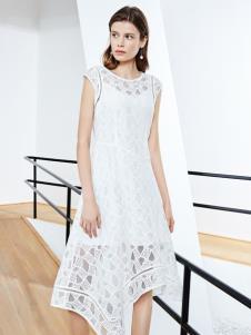 2019ECA女装优雅白色连衣裙