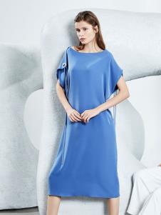 2019ECA女装新款蓝色连衣裙