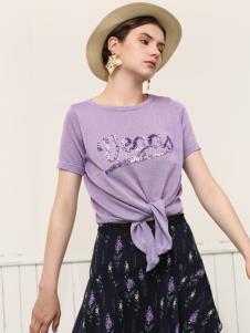 betu百图女装紫色T恤