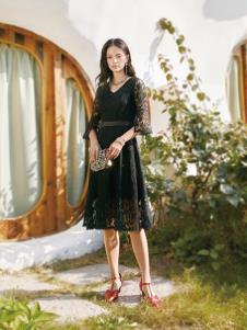 2019布根香女装黑色蕾丝裙