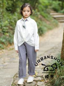 2019城秀童装女大童白色衬衫