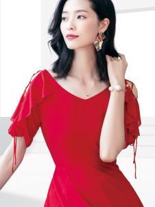 2019优衣美女装红色连衣裙
