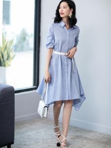 2019优衣美女装蓝色衬衫裙