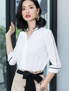 2019优衣美女装白色衬衫