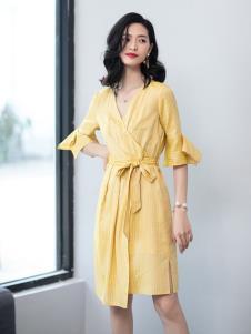 2019优衣美黄色气质连衣裙