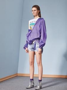 2019丽芮女装紫色休闲外套