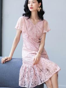 2019优衣美女装粉色蕾丝裙