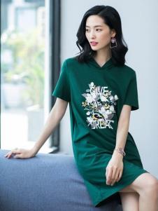 2019优衣美女装绿色极简连衣裙