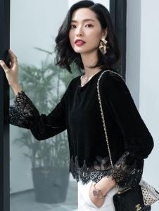 2019优衣美女装黑色上衣