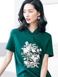 2019优衣美女装绿色印花连衣裙