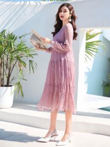 EI女装19粉色气质连衣裙