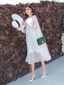 EI女装19白色宽松连衣裙