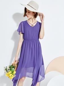 欧炫尔女装紫色连衣裙