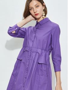 欧炫尔女装紫色衬衫